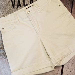 NYDJ cuffed white denim shorts